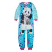 Sleep On It Long-Sleeve Photo Real Panda Zip-Front Pajamas - Girls