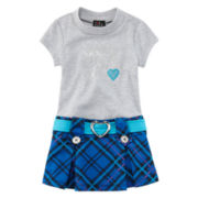 Lilt Marsha Short-Sleeve Heart Plaid Dress - Toddler Girls 2t-4t