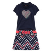 Lilt Short-Sleeve Navy Marsha Dress with Coral Belt - Preschool Girls 4-6x
