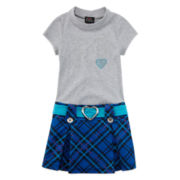 Lilt Short-Sleeve Heart Plaid Marsha Dress - Preschool Girls 4-6x