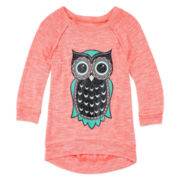 Miss Chevious 3/4-Sleeve Glitter-Graphic Sweater-Knit Top - Girls 7-16