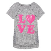 Miss Chevious Short-Sleeve Crochet-Side Graphic Tee - Girls 7-16