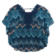 Speechless® Elbow-Sleeve Print Circle Crochet Lace Top - Girls 7-16