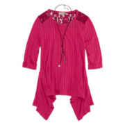 Speechless® 3/4-Sleeve Ribbed Sharkbite Top with Necklace - Girls 7-16