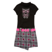 Lilt Short-Sleeve Black and Pink Herringbone Marsha Dress with Owl - Girls 7-16