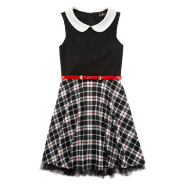 jcpenney.com | Lilt Sleeveless Black and White Plaid Skater Dress with Peter Pan Collar - Girls 7-16
