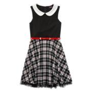 Lilt Sleeveless Black and White Plaid Skater Dress with Peter Pan Collar - Girls 7-16