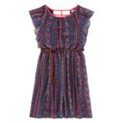 Speechless® Navy and Red Aztec Flutter-Sleeve Chiffon Dress - Girls 7-16