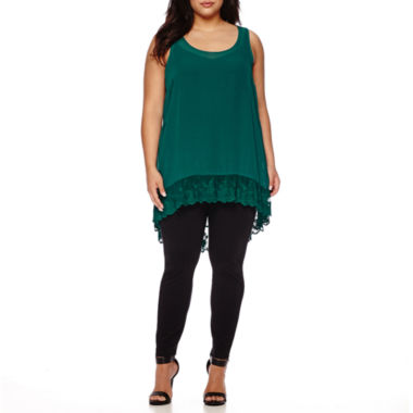jcpenney.com | Boutique+ High-Low Ruffle Tank Top, Essential V-Neck Cami or Essential Leggings - Plus