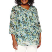 Liz Claiborne® 3/4-Sleeve Pintuck Blouse with Cami - Plus