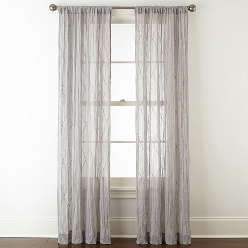 Linden Street Farmhouse Sheer Rod-Pocket Sheer Curtain Panel