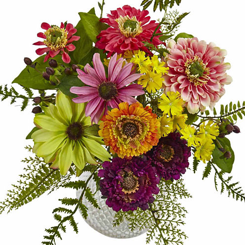 Mixed Flower In Glass Vase Floral Arrangement