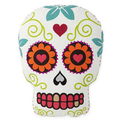 JCPenney Home™ White Sugar Skull-Shaped Pillow