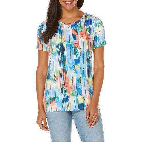 Rafaella Short Sleeve Crew Neck Graphic T-Shirt