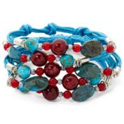 Blue & Red Bead 5-Row Rope Bracelet
