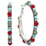 Blue & Red Bead Hoop Earrings