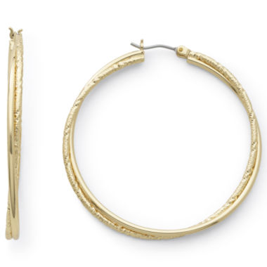 jcpenney.com | Monet® Gold-Tone Medium Twist Hoop Earrings