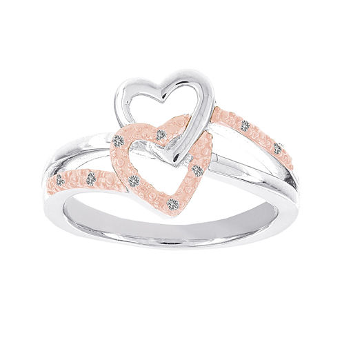 Lumastar Diamond-Accent Two-Tone Sterling Silver Double-Heart Promise Ring