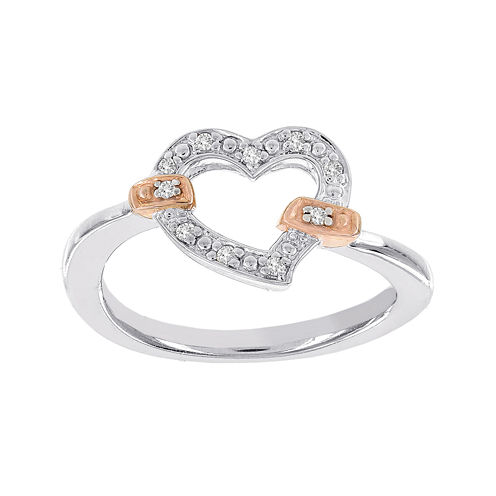Lumastar Diamond-Accent Two-Tone Sterling Silver Openwork Heart Promise Ring