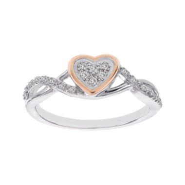 jcpenney.com | Lumastar 1/10 CT. T.W. Diamond Two-Tone Sterling Silver Heart Infinity Promise Ring