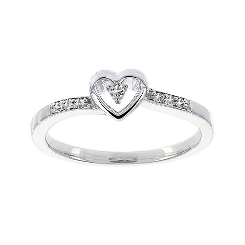 Lumastar Diamond-Accent Sterling Silver Heart Promise Ring