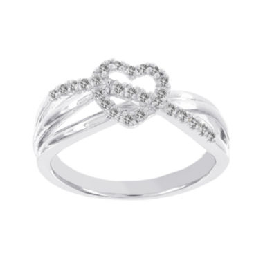jcpenney.com | Lumastar 1/8 CT. T.W. Diamond Sterling Silver Heart and Sash Promise Ring