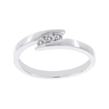 jcpenney.com | Lumastar 1/10 CT. T.W. Diamond 10K White Gold 3-Stone Promise Ring