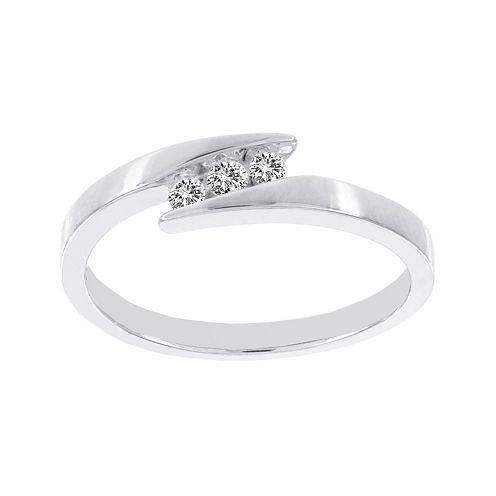 Lumastar 1/10 CT. T.W. Diamond 10K White Gold 3-Stone Promise Ring