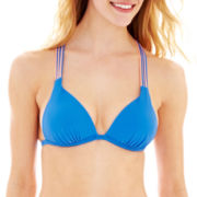 Arizona Strappy Push-Up Triangle Halter Swim Top - Juniors