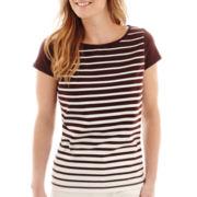 Liz Claiborne® Cap-Sleeve Striped Top