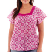 St. John's Bay® Short-Sleeve Squareneck Woven Top - Plus