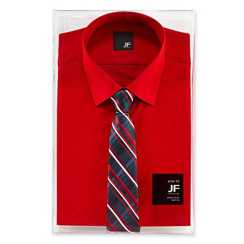 JF J. Ferrar® Slim-Fit Shirt and Tie Box Set