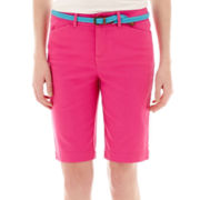 St. John's Bay® Secretly Slender Twill Bermuda Shorts- petite