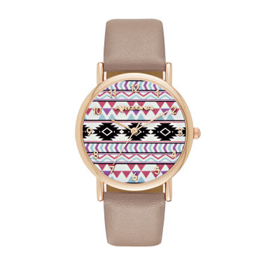 jcpenney.com | Arizona Womens Rose Gold Tone Aztec Print Taupe Strap Watch