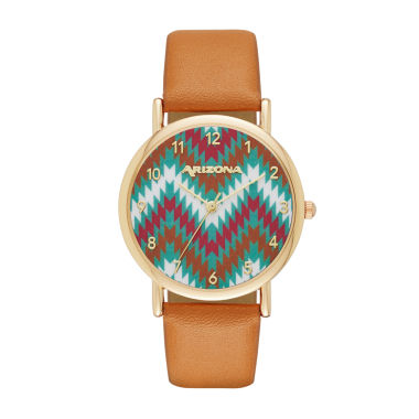 jcpenney.com | Arizona Womens Gold Tone Chevron Dial Brown Strap Watch