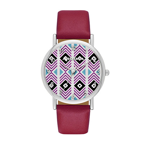 Arizona Womens Silver Tone Aztec Dial Maroon Strap Watch