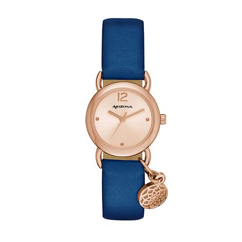 Arizona Womens Rose Gold Tone Feather Charm Navy Strap Watch