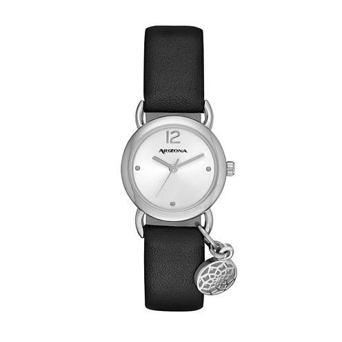 Arizona Womens Silver Tone Arrowhead Charm Black Strap Watch