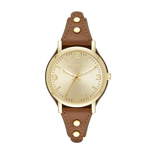 Arizona Womens Gold Tone Brown Strap Watch