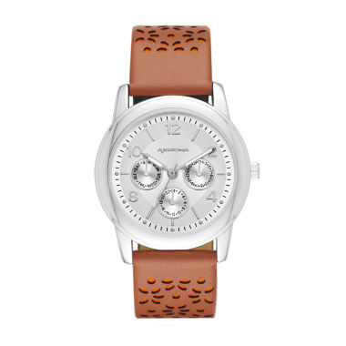 jcpenney.com | Arizona Womens Silver Tone Brown And Orange Strap Watch