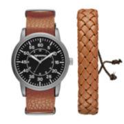 Arizona Mens Brown And Black Woven Bracelet Watch Set