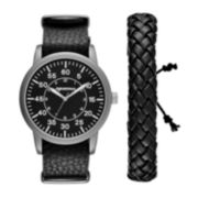 Arizona Mens Black Woven Bracelet Watch Set