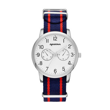 jcpenney.com | Arizona Mens Silver Tone Blue And Red Strap Watch
