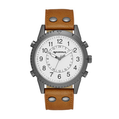 jcpenney.com | Arizona Mens White Dial Cognac Strap Watch