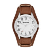 Arizona Mens White Dial Brown Strap Watch