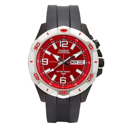 Casio® Mens Black and Red LED Strap Watch MTD1082-4AV