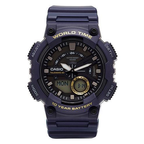 Casio® Mens Blue 3D Dial Heavy Duty Strap Watch AEQ110W-1AV
