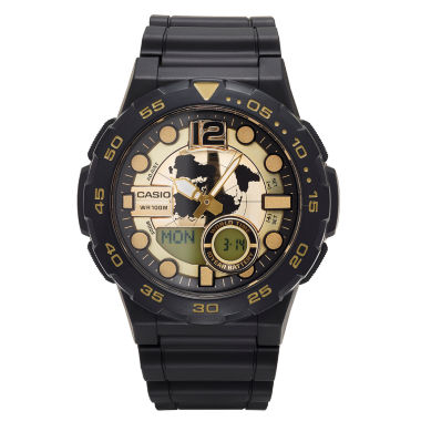 jcpenney.com | Casio® G-Shock Mens Black and Gold  Analog/Digital Dive Strap Watch AEQ100W-1AV