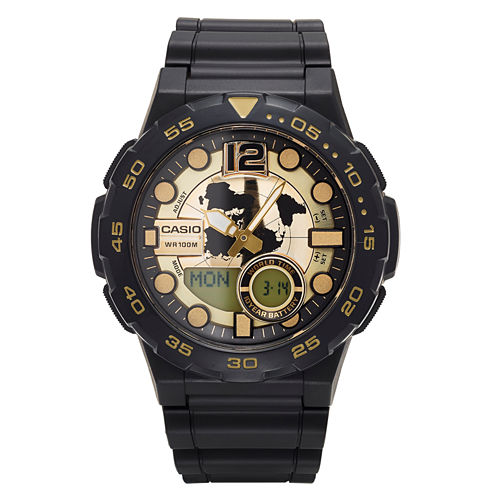 Casio® Mens Black and Gold  Analog/Digital Dive Strap Watch AEQ100W-1AV