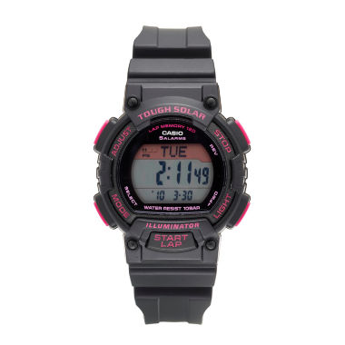 jcpenney.com | Casio® Solar Runner Womens Black and Pink Strap Watch STLS300H-1C